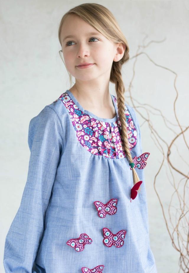 Schmetterlinge auf Hemd - Designbeispiel Frühstück bei Emma
