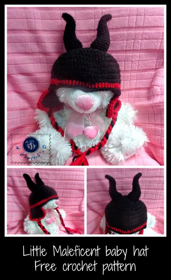 Crochet Maleficent baby hat, crochet Maleficent hat