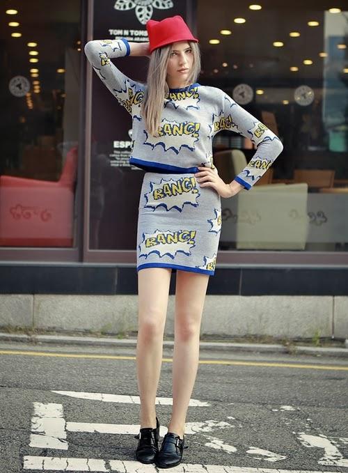 Cartoon Top and Skirt Set