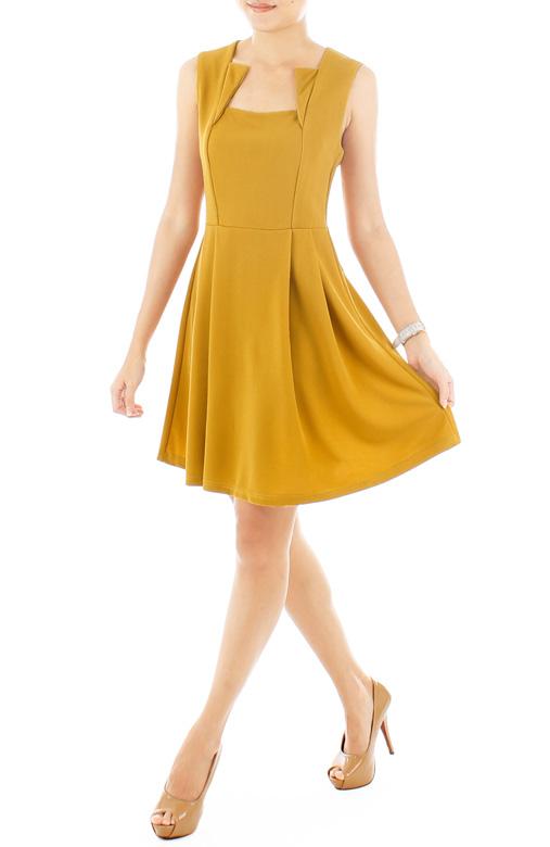 Marigold Pleated Flare Dress