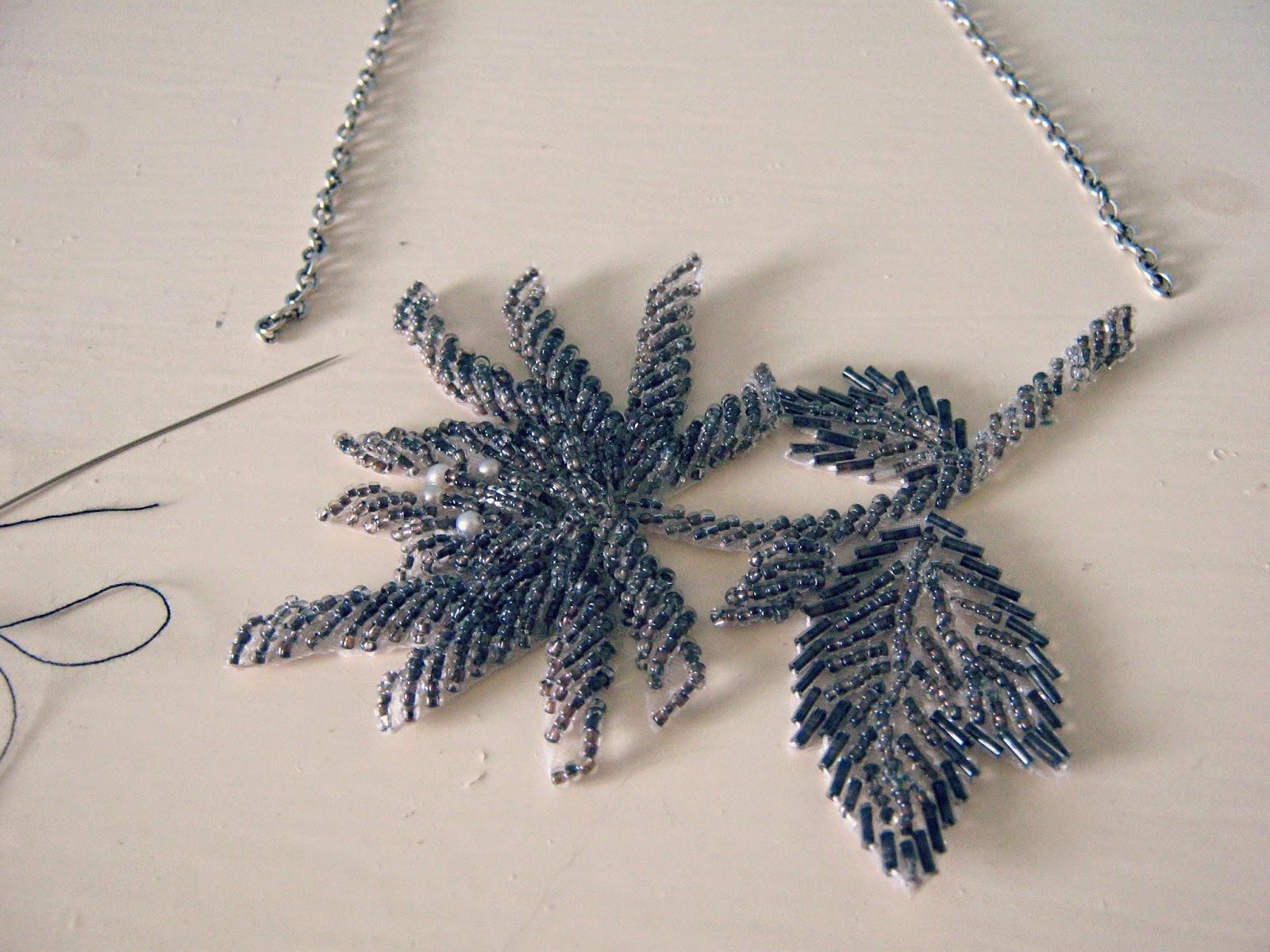Beaded Applique Patch Necklace