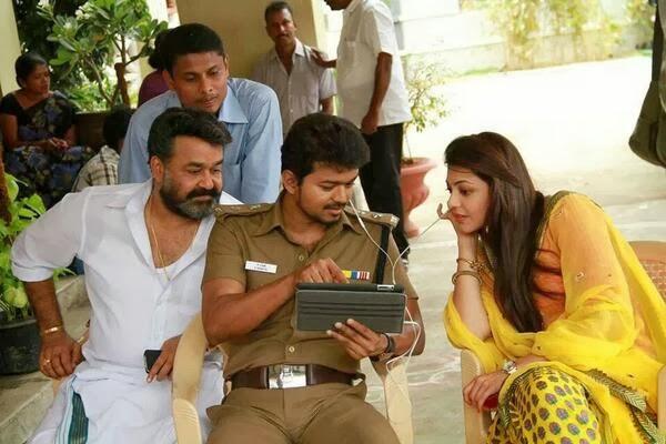 Vijay, Kajal and Mohanlal during Jilla shooting spot ...