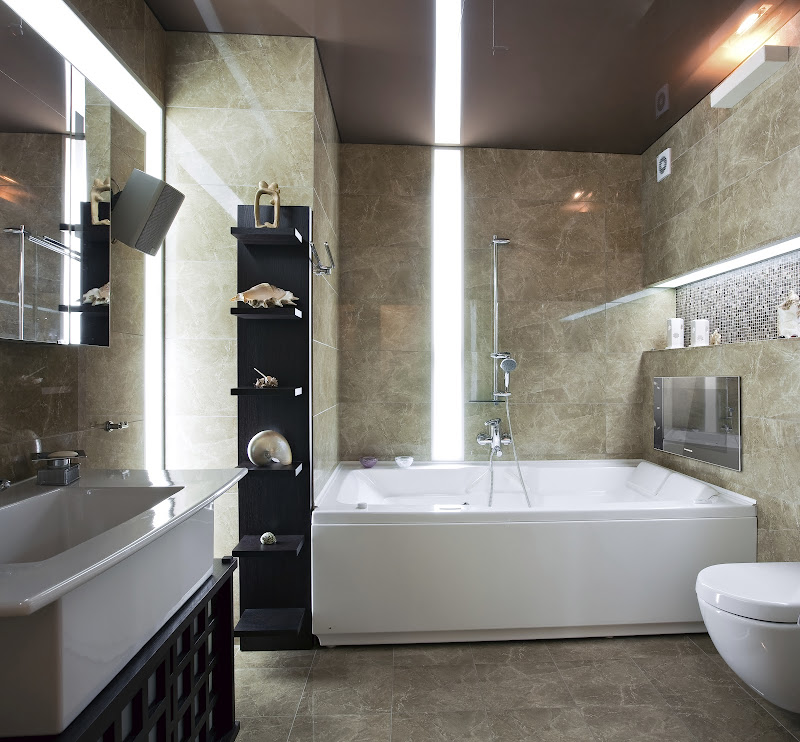 Modern bathroom design with waterproof TV on the wall title=