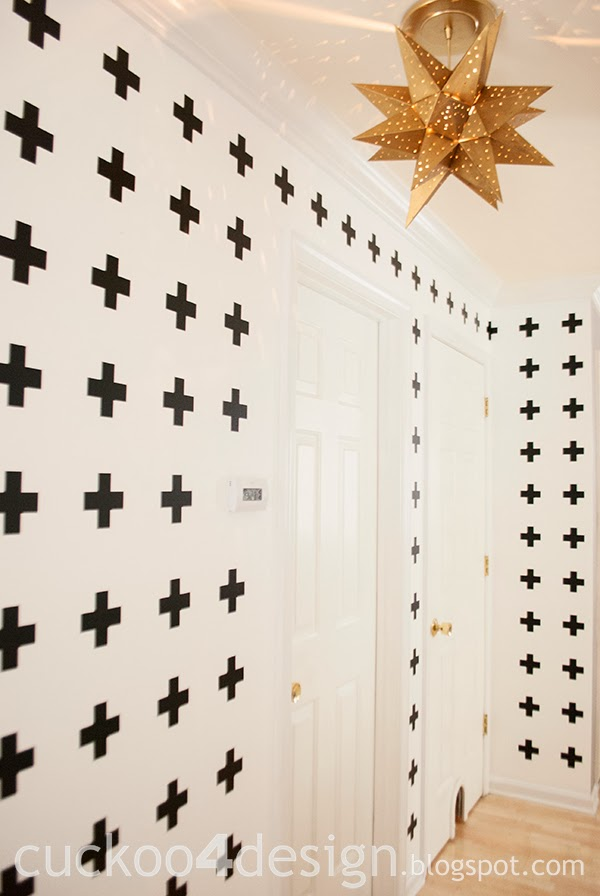 black and white cross wall treatment with wall vinyl