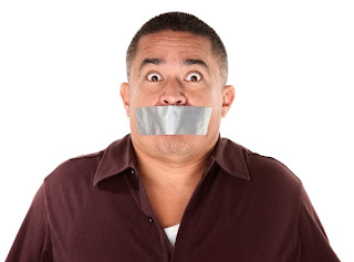Comical Man with Gaffer Tape over his mouth