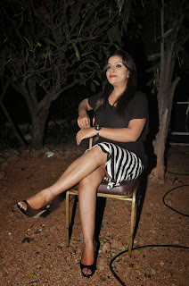 Padmini in a Ze Print Skirt and Tight Black Top at Kiraak Audio Launch Function