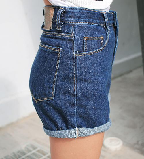 Rolled Hem Jean Shorts