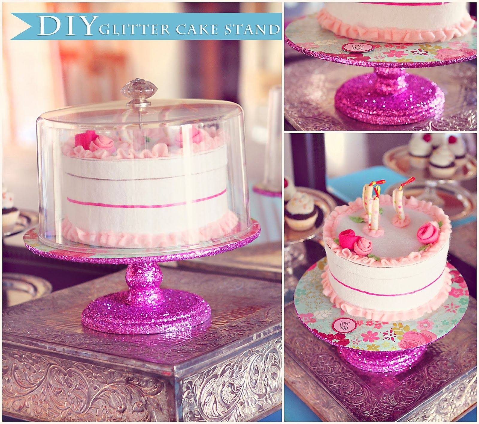 diy glittery cake stand. Black Bedroom Furniture Sets. Home Design Ideas