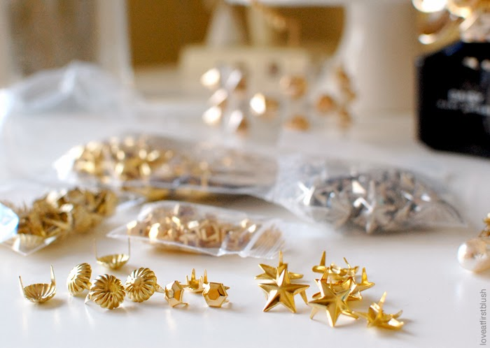 gold flower star studs