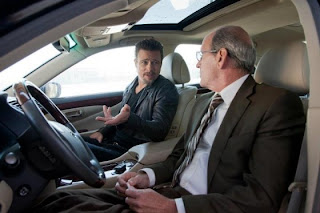 Brad Pitt as Jackie Cogan, Richard Jenkins as Driver, Car scene, Killing Them Softly, Directed by Andrew Dominik
