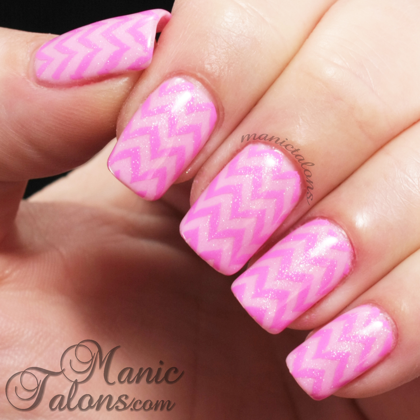 Pink on Pink Chevron Nail Art
