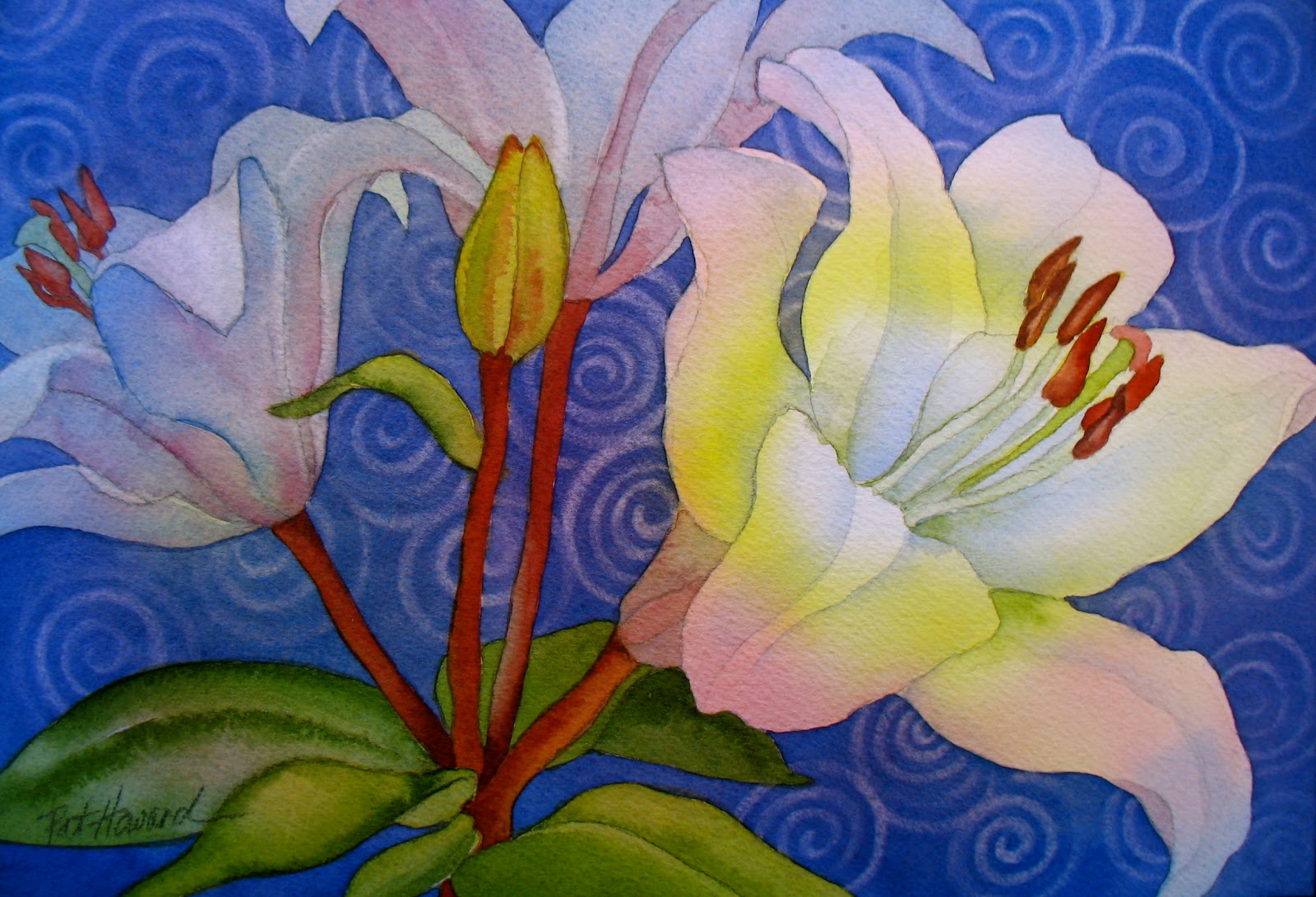 The Painted Prism WATERCOLOR WORKSHOP Painting White Flowers with Patterned