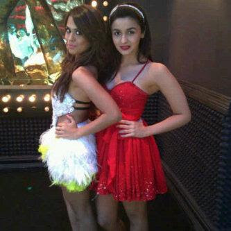 Alia Bhatt & Sana Saeed on the sets of SOTY