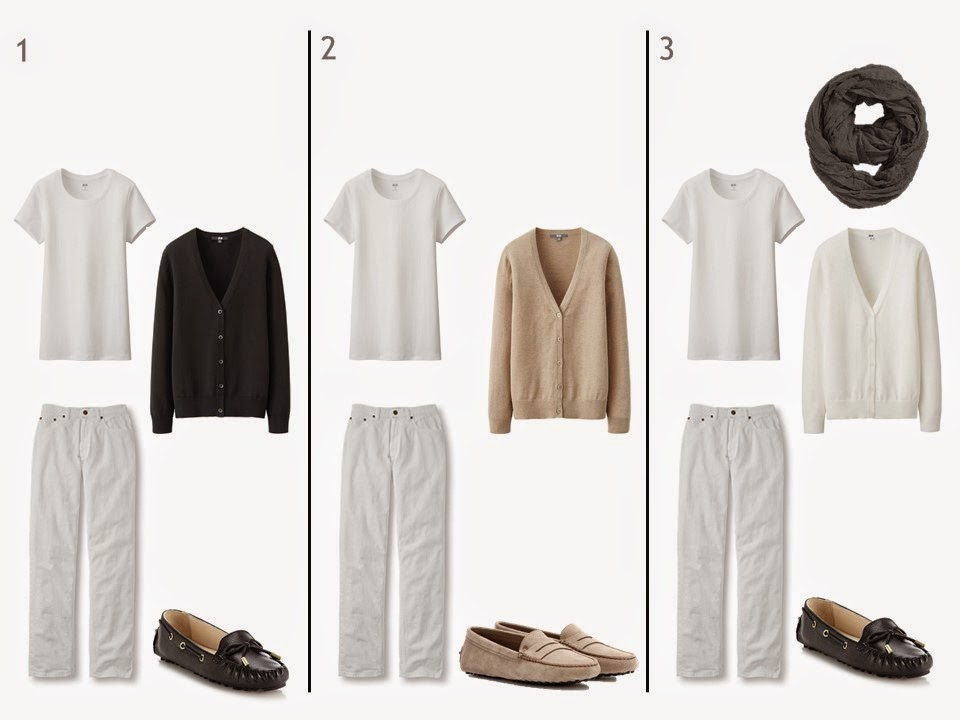 white jeans and a white tee shirt with black beige or white cardigan and loafers