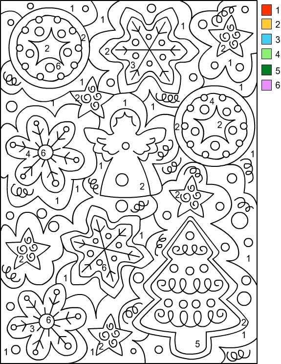 christmas coloring pages by number - photo#5