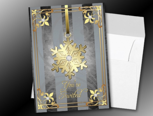 Gilded Glamorous Snowflake Silver Holiday invitations