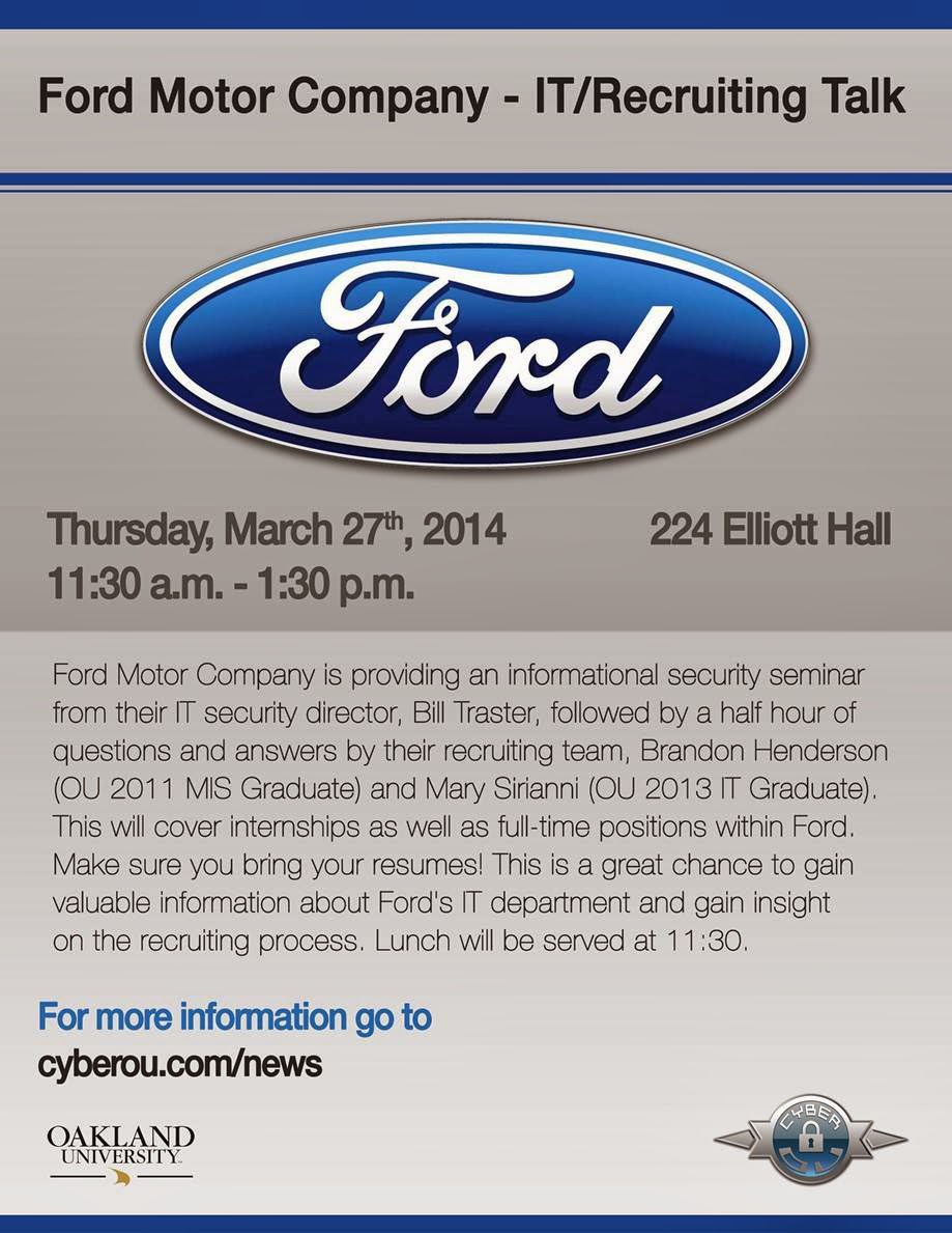 Oakland university career services ford motor company it Ford motor company technology