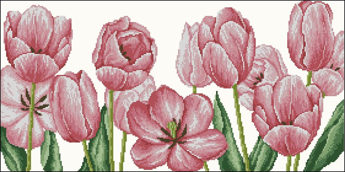Вышивка розовые тюльпаны 1