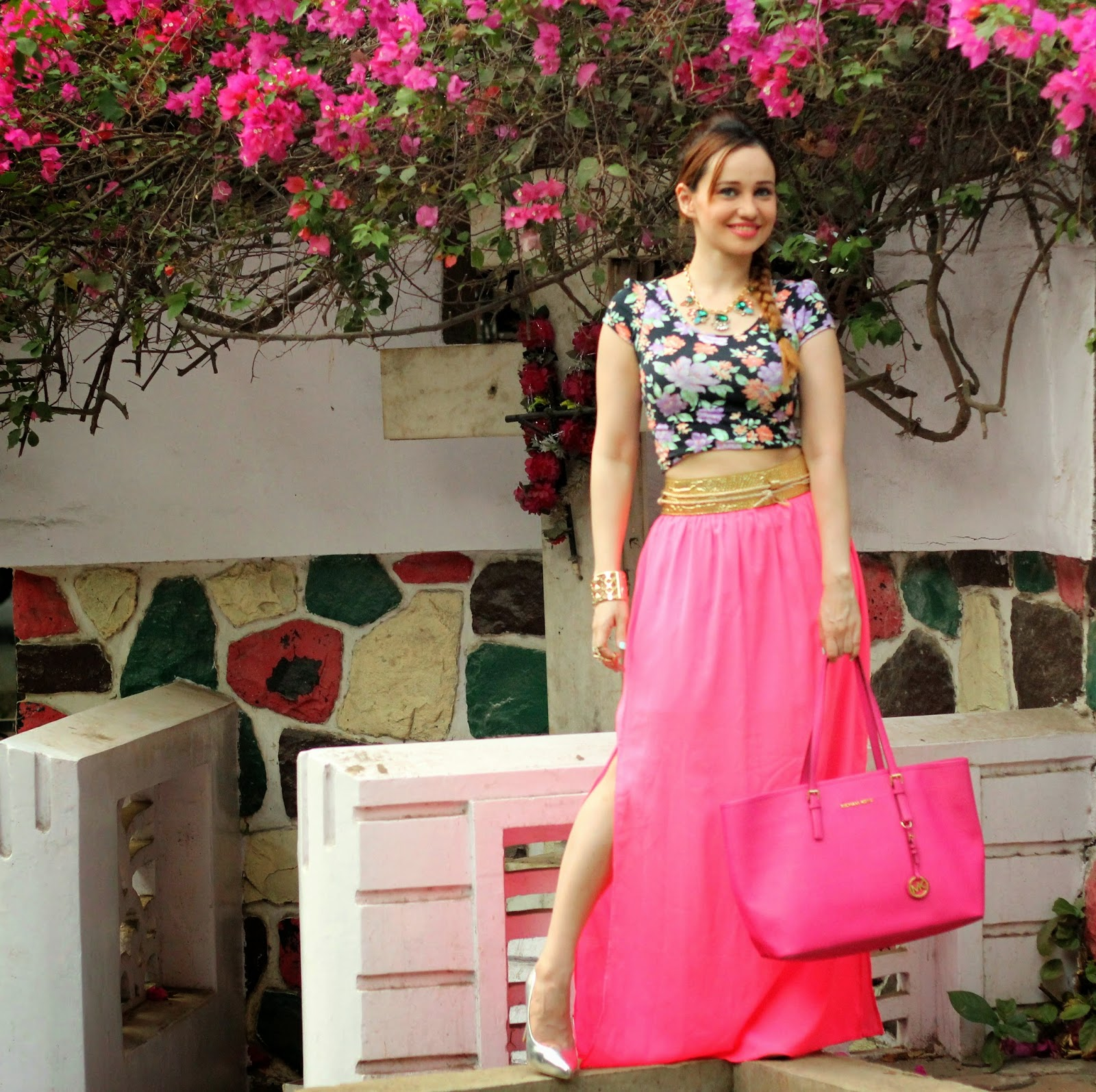 Floral Crop Top & Pink Maxi Skirt