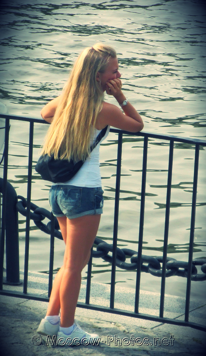 Cute Girl on Moscow river