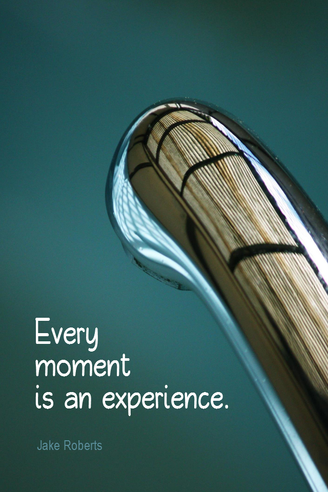 visual quote - image quotation for AWARENESS - Every moment is an experience. - Jake Roberts