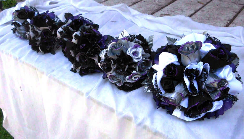 Have It All Gothic Glitter Wedding Bouquet Purple Black Silver Lace Satin And Roses