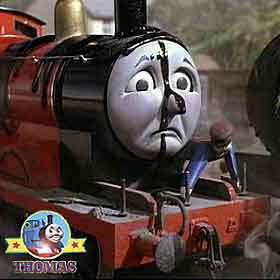 Thomas & friends James the tank engine was in a mess coated black from buffers to boiler in tar