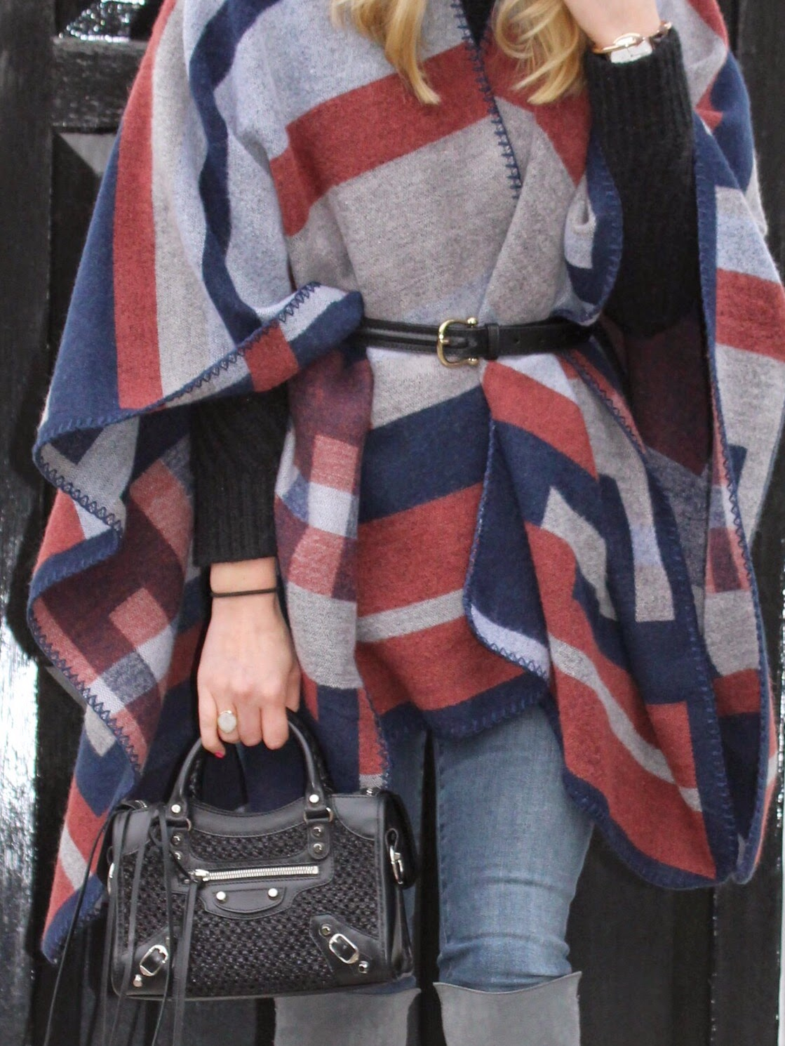 burberry belt, topshop cape, topshop blanket cape, black balenciaga, black balenciaga city mini, monica vinader ring, j brand jeans