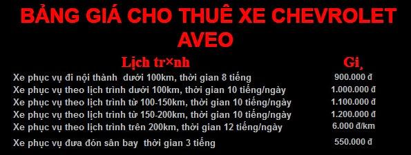 Cho thuê xe 4 chỗ Chevrolet Aveo tại Hà Nội