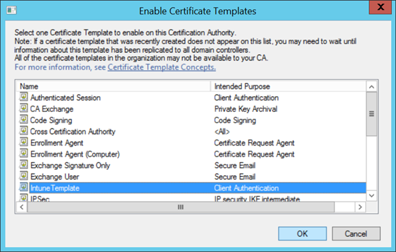 Technical skills enhancement world ems intune configuring verify if published template is visible in certificate template folder yelopaper Choice Image