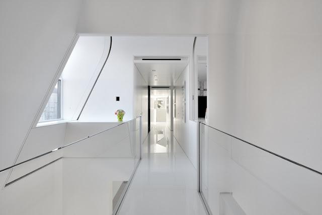 Narrow penthouse hallway
