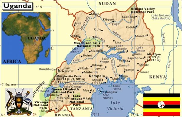 map of uganda in africa. all corners of Uganda,