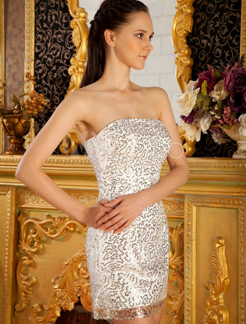 China Wholesale Clothes - Attractive Silver Strapless Sheath Paillette Lace Beading Prom Dress