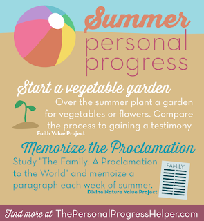 Summer Personal Progress Infographic with Fun Ideas in Each Value