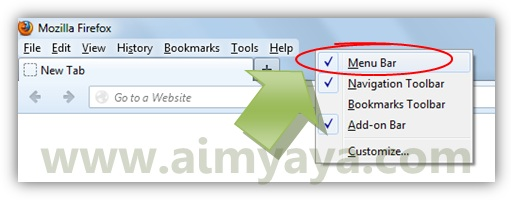 Gambar: Memilih  untuk menampilkan tombol Firefox pada Mozilla Firefox