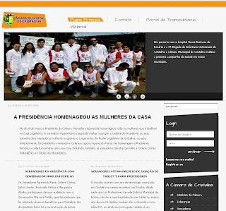 Novo site da Câmara Municipal de Cristalina é pouco profissional e lembra mais um blog que uma página institucional de um órgão público