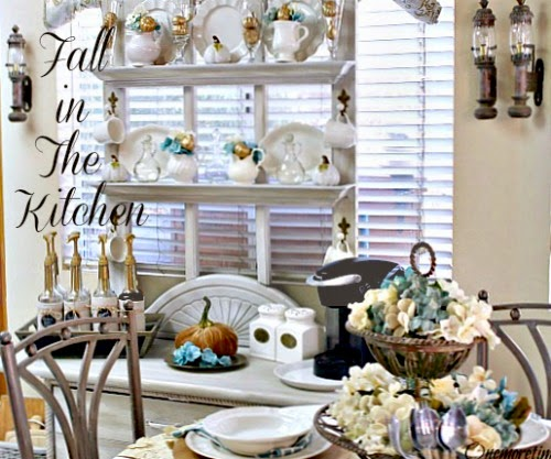 Decorating the kitchen for Fall at One More Time Events.com