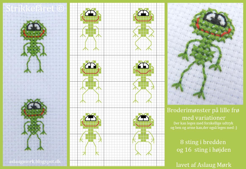Lille broderet fræk frø