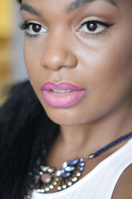 winged liner pink lipstick black women woman