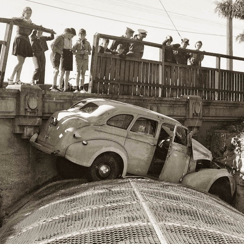 Vintage photo of car accident