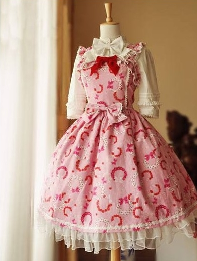 Sweet Printed Bow and Ruffle Rococo Lolita Dress