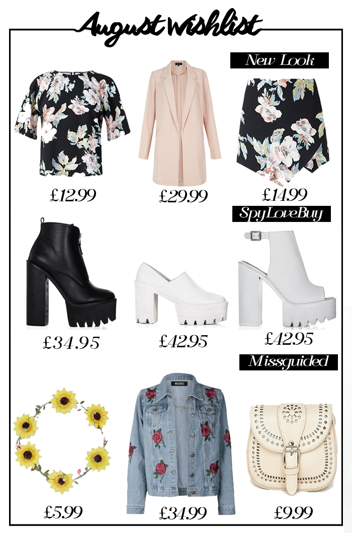 new look, spylovebuy, missguided, wish list, co odd set, pastel duster coat, cleated heels, sunflower hair garland