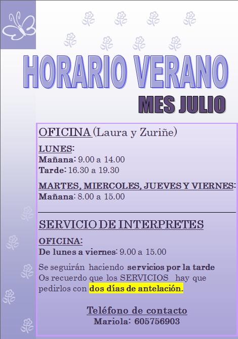 Arabako gorrak horario verano mes julio de las for Horario oficina adeslas