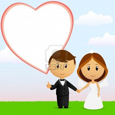 Vector Illustration Cute Cartoon Wedding Couple Holding