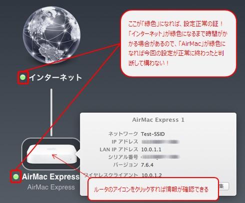 「インターネット」、「AirMac Express」が緑色になれば設定完了