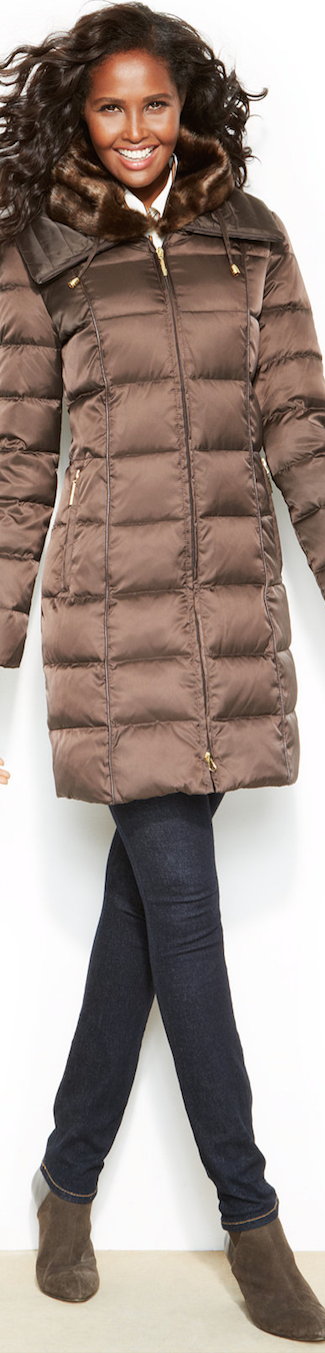 Nautica Puffer Down Coat with faux fur collar