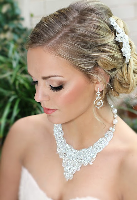 """Victoria Necklace"" - Hand Beaded Lace Statement Bridal Necklace"