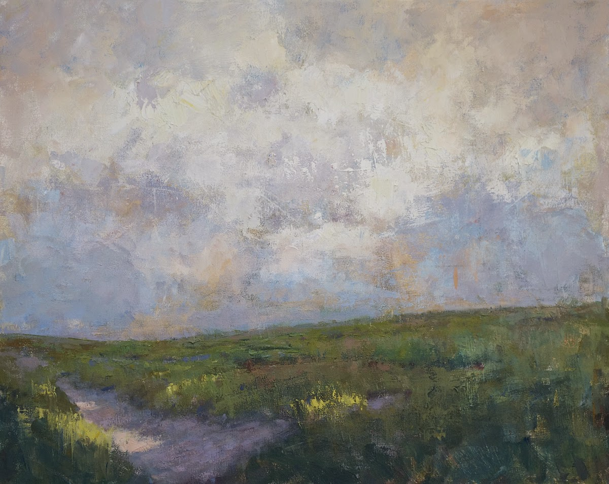 Impressionist landscape painting of a rolling hill under a cloud-filled sky on a late summer day, by artist Steve Allrich.