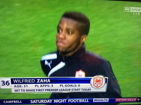 Sky Sports believe Wilfried Zaha is now 31