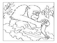 Mother Ape With The Baby Printable Coloring Pages